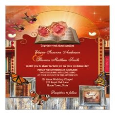 Wedding invitation with a romantic book theme in fantasy style