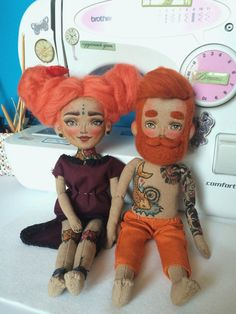 Cloth doll Baby Girl with flowers tattoos and red by Tattoysclub