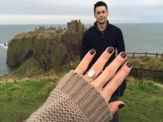 This princess got engaged in front of a castle, and just look at that rock!