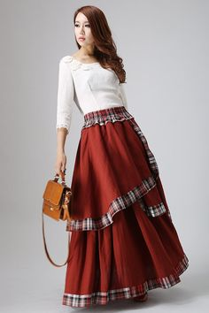 Hey, I found this really awesome Etsy listing at https://www.etsy.com/listing/111202438/irregular-linen-maxi-skirt-in-darker-red