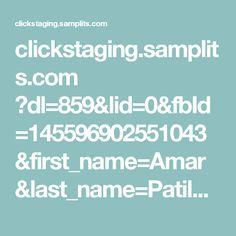 clickstaging.samplits.com ?dl=859&lid=0&fbId=145596902551043&first_name=Amar&last_name=Patil&email=amartest388@gmail.com&gender=male&locale=en_GB#thanks