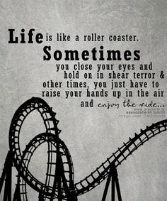 Life is Like a roller coaster. Sometimes you close your eyes and hold on in sheer terror and other times, you have to raise your hands up in the air and enjoy the ride.