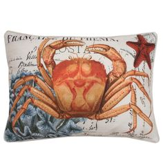 Add a touch of the beach to your home decor with this french coastal crab printed pillow. Made from faux linen and feather fill, this decorative pillow features a hidden zipper closure and removable cover.