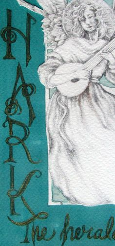 angel Christmas card 5x7 Hand Mounted Hand by DreaminOfDragonflies