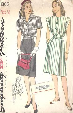 Simplicity 1305; ©1945; Misses' and Women's One-Piece Dress: A slim inset belt joins the button-front bodice and wrap-around skirt. There are soft gathers at lower edge of bodice, tucks at skirt front and darts at skirt back. In Style I, turn-back revers are cut in one with bodice and the skirt is shaped at lower edge. Style II features elongated sleeve bands which are sewn around and below normal armhole. The dress is finished with a large, inside skirt pocket outlined with top-stitching. St...