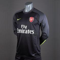 sports shoes abf8c f26db Football Shirts - Nike Arsenal Goal Keeper Replica Long Sleeve Jersey -  Replica Clothing - Black