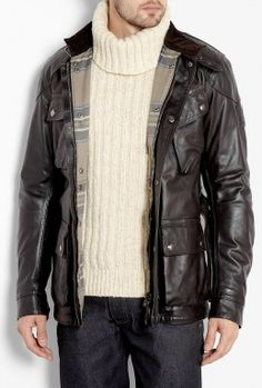 Black Leather Panther Jacket by Belstaff