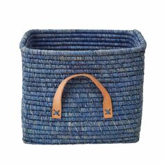 Rice DK Blue square woven raffia storage basket with tan leather handles. Soft Toy Storage, Storage Baskets, Bag Storage, Leather Handle, Tan Leather, Square Baskets, Toy Basket, Playroom Furniture, Mint