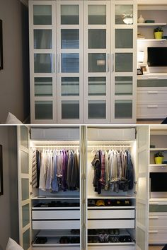 The IKEA Home Tour Squad built a custom PAX wardrobe in their bedroom storage makeover to maximize storage space. Bonus: PAX fitted wardrobes come with a 10 year warranty!