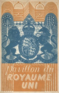 Pavilion of the United Kingdom, catalogue cover for Paris International Exhibition 1937 - by Eric Ravilious Typography Poster, Graphic Design Typography, Most Popular Artists, Identity, Wood Engraving, Graphic Illustration, Illustrations, Catalogue Cover, Our Lady