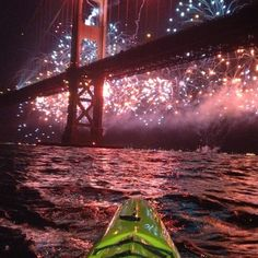 Golden Gate Bridge 75th Anniversary fireworks show from a kayaker's point of view