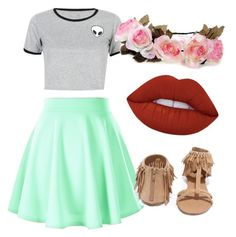 """""""peace and """" by swag04 ❤ liked on Polyvore featuring WithChic, Lime Crime and Qupid"""