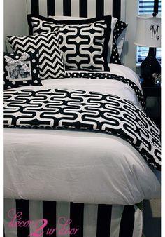 Trendy Black & White Geometric Designer Teen & Dorm Bed in a Bag | Teen Girl Dorm Room Bedding