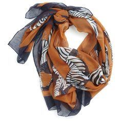 Safari, So Near Scarf ❤ liked on Polyvore featuring accessories, scarves, zebra scarves, loop scarves, wrap shawl, sheer shawl and oversized scarves