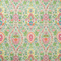 Theodora Linen And Cotton Print - Sky Blue/Rose - Indoor Multipurpose Fabric Brunschwig
