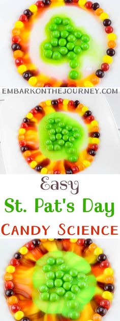 I love being able to incorporate the holidays into our homeschool lessons. This easy candy science experiment is perfect for St. Patrick's Day! | @homeschljourney.com via @letsembark