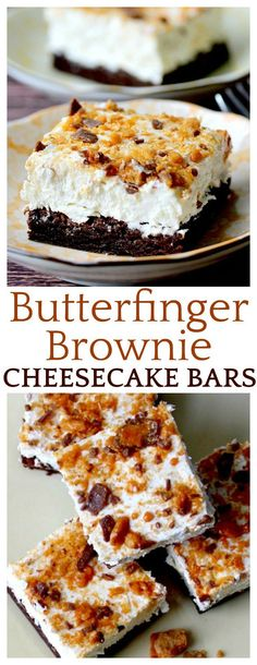This easy-to-make brownie bar recipe is composed of a Butterfinger brownie crust, then topped with a rich, no bake cheesecake with even more Butterfinger bits sprinkled on top! Bon Dessert, Dessert Aux Fruits, Dessert Bars, Köstliche Desserts, Best Dessert Recipes, Delicious Desserts, Bar Recipes, Plated Desserts, Yummy Recipes