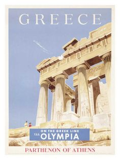 Solid-Faced Canvas Print Wall Art Print entitled Greece, Greek Parthenon,Vintage Poster, None Vintage Travel Posters, Vintage Ads, Poster Vintage, Poster S, Poster Prints, Tourism Poster, Poster Wall, Around The World In 80 Days, Around The Worlds