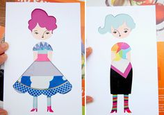 """""""Reverse"""" paperdolls: Cut out the shapes of the doll's hair and dress, then slide colorful scraps of patterned paper (magazine sheets are perfect) underneath to peek through the windows. So fun!"""