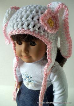 American Girl Crocheted Flop-Eared  Bunny Ear Flap Hat. $6.00, via Etsy.