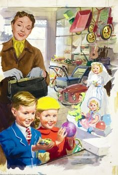 "Inside toyshop - Ladybird 1958 .@@@@........http://www.pinterest.com/dianehorner10/shopping-with-mother/ %&%&%&%&% ·······""""""""""""""""""..............()()()()"