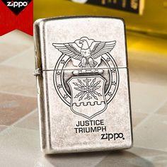 Japanese Zippo Antique Silver Justice Triumph Lighter