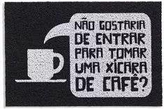 tapete capacho de porta 60x40 chaves - xícara de café