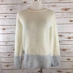 Boden Crewneck Sweater Wool Blend Waffle Knit IVORY/BLUE US Size 4 EUC  | eBay