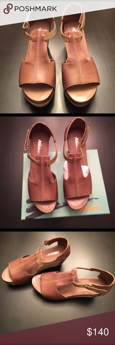 Antelope Wedges, NEW IN BOX Antelope Leather Wedge Sandal.                              Heel 3.5 inches Upper made of fine quality leather. Lining is soft leather. Insole is Latex cushioned and coated in smooth breathable leather. ANTELOPE Shoes Wedges