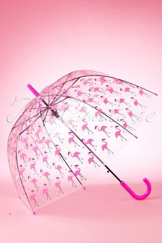 60s Pretty Flamingo Transparent Dome Umbrella - So Rainy