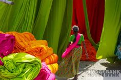 Fabric Dyeing in India - love the intense colours and how they work together in composition