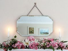 ♣• Antique Mirror Vintage Mirror #Art Deco mirror #frameless mirror Bevelle... http://etsy.me/2gaBc7p
