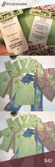 Little Mass Kids set Absolutely adorable excellent preowned condition, Girls size 4 jeans, skirt, tank top, long sleeve cardigan and short tie cardigan. Beautiful detail. Little Mass Matching Sets