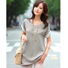 De las mujeres con cuello en V de empalme blusa suelta – USD $ 14.94