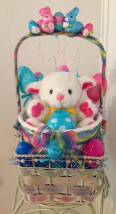 Small Holiday Lamb Handmade Pink & Blue Easter Gift Basket by cappelloscreations, $23.00@Etsy