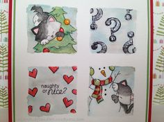 Naughty or Nice? handmade card. Used NND Curious Christmas and SSS SKETCHED ALPHABET stamp sets.