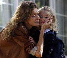 Spanish Princess Letizia and her daughter Sofia in a candid moment.