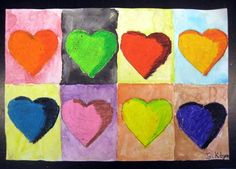 Jim Dine Hearts, Oil Pastel Watercolor Resist, Artist: Jackie597