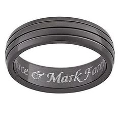Men's 6.0mm Engraved Grooved Black Titanium Band (25 Characters)