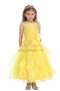 Yellow Jeweled Bodice Ruffle Layered Organza Flower Girl Dress