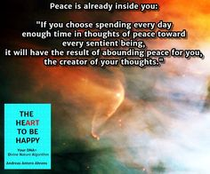 peace is inside you The HeArt to Be Happy