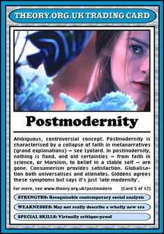 Postmodernity - ambiguous, controversial concept...Theory.org.uk trading cards