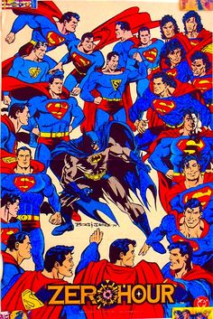 """Here's the little-seen companion to the """"too many Supermen"""" Zero Hour cover, a poster that appeared in Wizard magazine, also by Jon Bogdanove. Can you identify all the various Supermen? Superman Lois, Superman Family, Superman Man Of Steel, Batman And Superman, Comic Book Covers, Comic Books Art, Comic Art, Comic Pics, Superman Comic"""