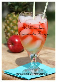"Watermelon Lemonade recipe HOMEMADE!!  You can even make this a ""hard"" lemonade recipe too!!!  Delish!"