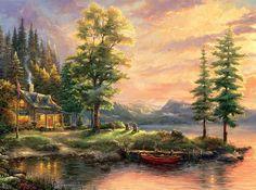 Thomas Kinkade Morning Light Lake 18 x 27 S/N Limited Edition Paper Canvas Artwork, Thomas Kinkade, Limited Edition Art, Nature, Fine Art, Art Thomas, Thomas Kinkade Puzzles, Painting, Art