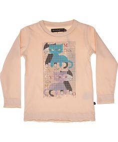 Minymo zalmroze t-shirt met leuke poesjes. minymo.nl.emilea.be