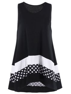 Plus Size Polka Dot Sleeveless Tunic Top – Dress Archive Trendy Plus Size Clothing, Plus Size T Shirts, Plus Size Blouses, Plus Size Tops, Plus Size Women, Plus Size Outfits, Plus Size Fashion, Top Fashion, Fashion Outfits