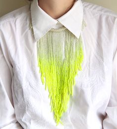 Awesome neon jewelry design by Henriette Botha. Mandap Design, Neon Jewelry, Leather Thread, Jewelry Design, Jewelry Ideas, Contemporary Design, Tassel Necklace, Crochet, Awesome