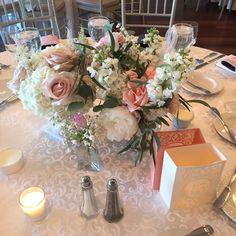 #centerpiece #centerpieces #wedding #easternshoreweddings #easternshorewedding #weddingflowers #peachflowers #peonies #roses #hydrangea #astilbe #stock #eucalyptus #dvflora @theoakswaterfrontweddings by seasonal_flowers_trappe