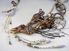 """""""Lady Godiva"""" #christiFriesen #polymer #wireLace. This piece was the winner of WireLace Design contest for Bead Style magazine. #christiFriesen #polymer. http://www.christifriesen.com/"""